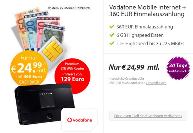 getmobile 6 GB LTE Daten-Flat im Vodafone-Netz mit 360 Euro Auszahlung