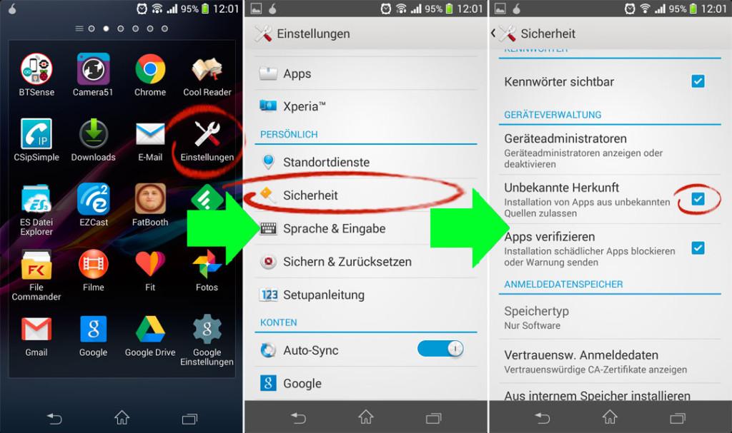 auf Android Unbekannte Quellen Einstellung aktivieren