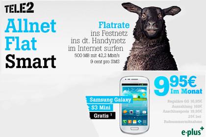 Allnet-Flat von Tele2 mit Smartphone für unter 10 Euro