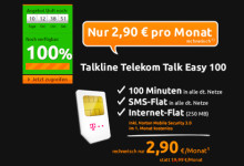 Crash-Tarife Talkline Telekom Talk Easy 100 Spezial