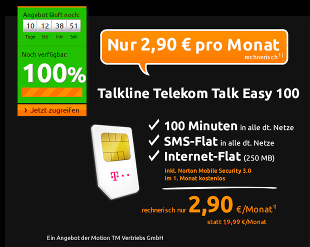 Crash-Tarife Talkline Telekom Talk Easy 100 Spezial