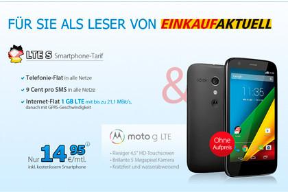 Allnet-Flat von DeutschlandSIM inkl. Moto G für nur 14,95 Euro im Monat