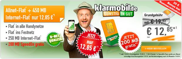 "Klarmobil Allnet-Spar-Flat"" Mobilfunkvertrag nur 12,85 €"