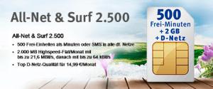 All-Net & Surf 1.500 für nur 9,99 Euro