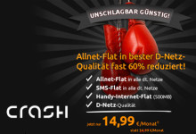 Crash-Tarife: Allnet- und SMS-Flat im D-Netz für 14,99 Euro