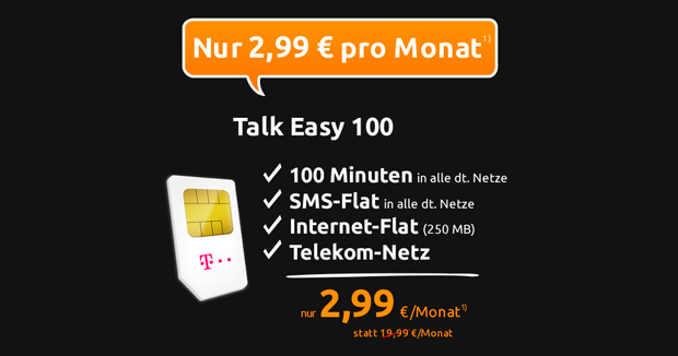 Crash-Tarife: Talk Easy 100 Tarif der Telekom für nur 2,99 Euro