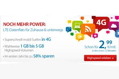 LTE-Flatrates von discoSURF ab günstigen 2,99 Euro im Monat