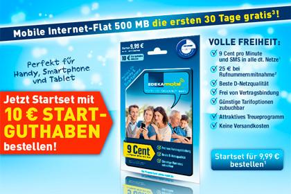 edeka-mobil mobile Internet-Flat 500 MB - für 30 Tage gratis testen!