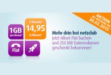 Allnet-Flat mit 1 GB Highspeed-Volumen für nur 14,95 Euro bei netzclub