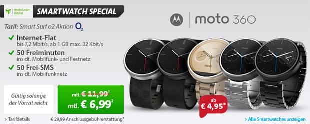 Motorola Moto 360 für effektiv 6,99 Euro im Monat