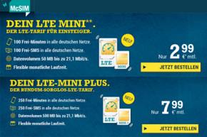 Neue Mini-Tarife für Wenig-Nutzer ab 2,99 Euro bei McSIM