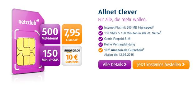 Netzclub Amazon-Gutschein 10 Euro