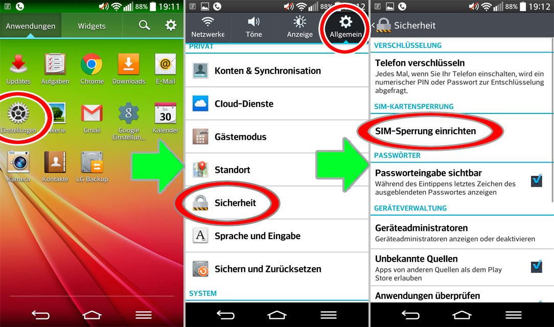 Android SIM-sperrung einrichten