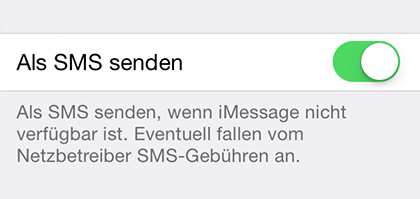 Deaktivieren: iMessage Nachricht als SMS senden