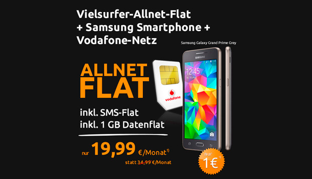 Allnet-Flat + 1 GB Daten + Samsung-Smartphone