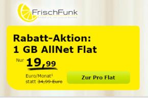 FrischFunk: Allnet-Flat mit 1 GB Daten-Volumen für nur 19,99 Euro