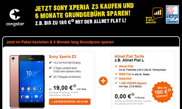 congstar: Allnet-Flats mit Sony Xperia Z3