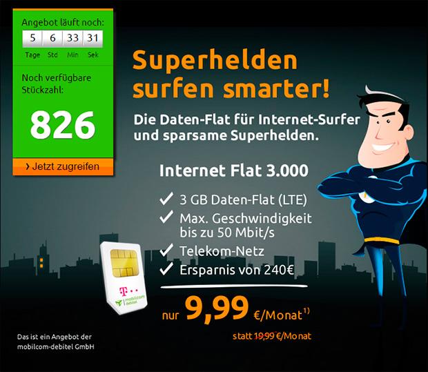 3 GB Daten-Flat im Telekom-Netz