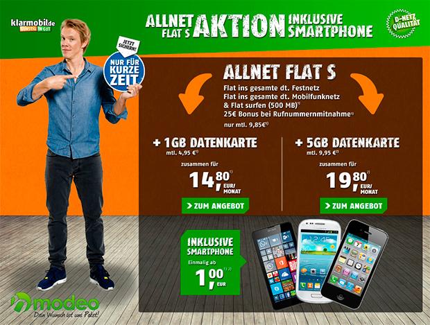 modeo klarmobil Allnet-Flat S Aktion
