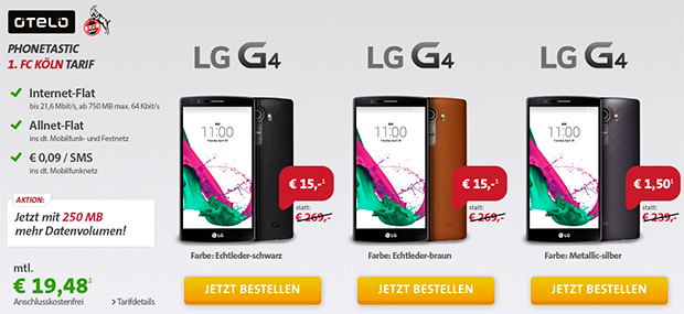 sparhandy FC Köln-Tarif von otelo inkl. des LG G4 Smartphones