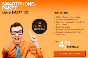 Aktion von callmobile: cleverSmart 400 für nur 4,95 Euro im Monat