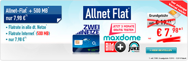 Handybude: Allnet-Flat mit 500 MB Daten