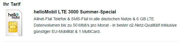 hellomobil LTE 3000 Summer-Special
