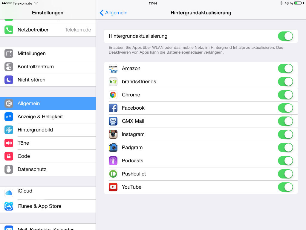 Hingegrundsupdates auf iPad deaktvieren
