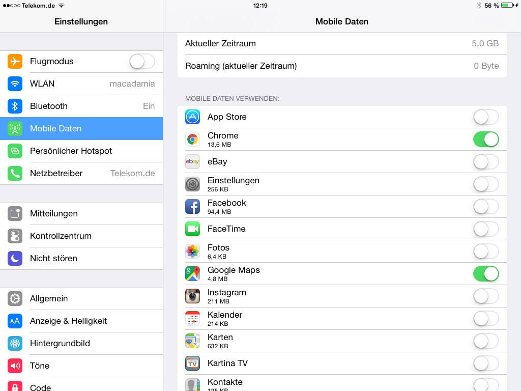Verwalten von Apps, welche mobiles Datenvolumen verwenden dürfen