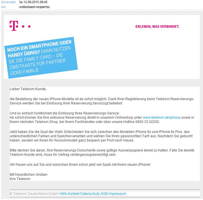 iPhone Mail Telekom