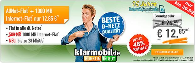 klarmobil AllNet Spar-Flat 1000 für 12,85 Euro