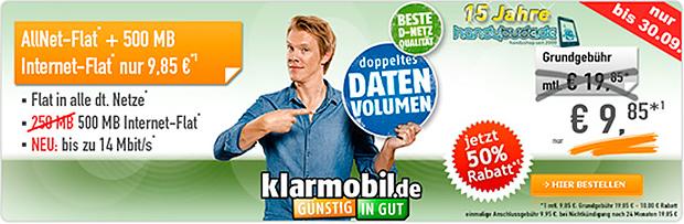 klarmobil AllNet Spar-Flat 500 für 9,85 Euro