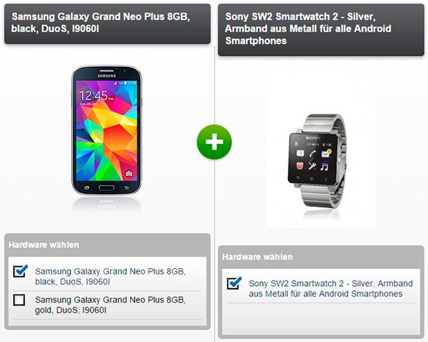 modeo Samsung Grand Neo und SONY Smartwatch 2