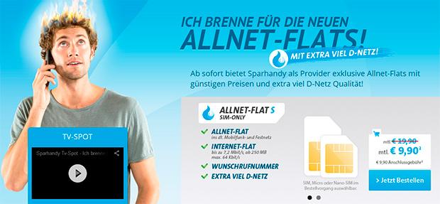 Sparhandy - Allnet-Flats im D-Netz erhalten mehr Volumen und Speed