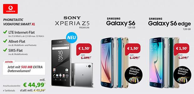 Vodafone-Tarife mit Sony- und Samsung-Geräten