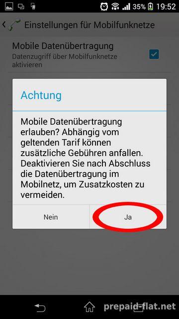 Mobile Datenübertragung erlauben