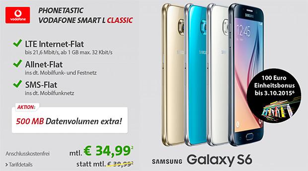 sparhandy Vodafone Smart L + Samsung Galaxy S6 / Edge / Plus