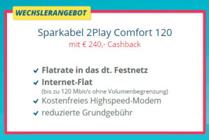 Sparkabel: Zwei Aktionen mit supergünstigem Kabelinternet ab eff. 9,99 Euro