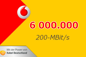 Vodafone 6 Millionen Haushalte mit bis zu 200 MBit/s