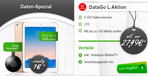 modeo iPad Air 2 WiFi & Cellular + Google Chromecast 2 + Vodafone DataGo L