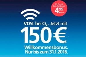 DSL von o2: ab 4,99 Euro im Monat und mit bis zu 150 Euro Willkommensbonus
