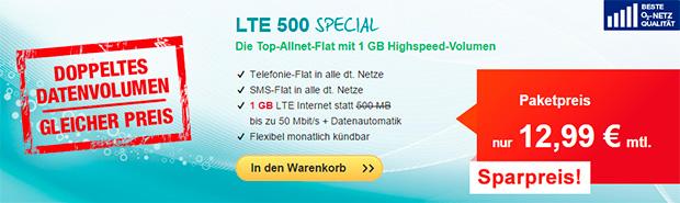 hellomobil LTE 500 Special Aktion - 12,99