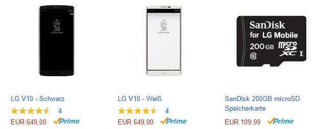 LG V10 mit Sandisk 200 GB