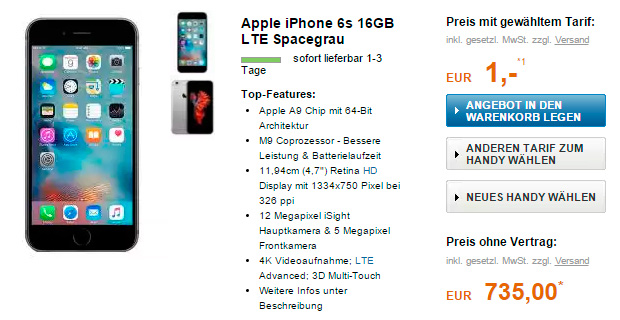 Apple iPhone 6s Plus Telekom Magenta Mobil M