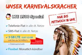 Neuer DeutschlandSIM Karnevalskracher: Allnet-Flat mit 3 GB (LTE) für 19,99 Euro