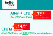 hellomobil All-in LTE und LTE M