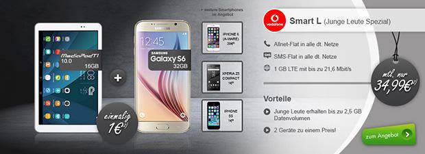 Media Pad T1 mit Galaxy S6 + Vodafone Smart L