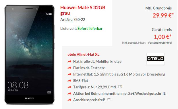 Preisboerse24 Huawei Mate S-32GB und AllnetFlat XL