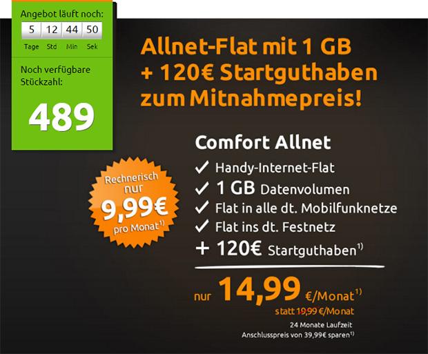 Crash-Tarife - Allnet-Flat mit 1 Gb für eff 9,99