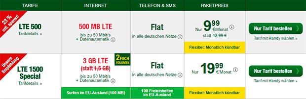 Smartmobil LTE 500 und LTE 1500 Special